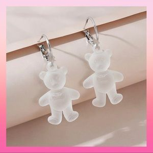 Frosted Teddy Pendant Hoops